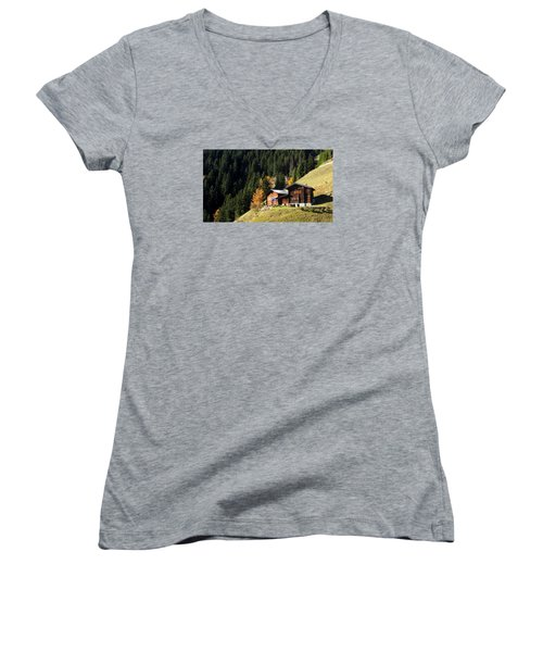 Two Chalets On A Mountainside Women's V-Neck T-Shirt (Junior Cut) by Ernst Dittmar