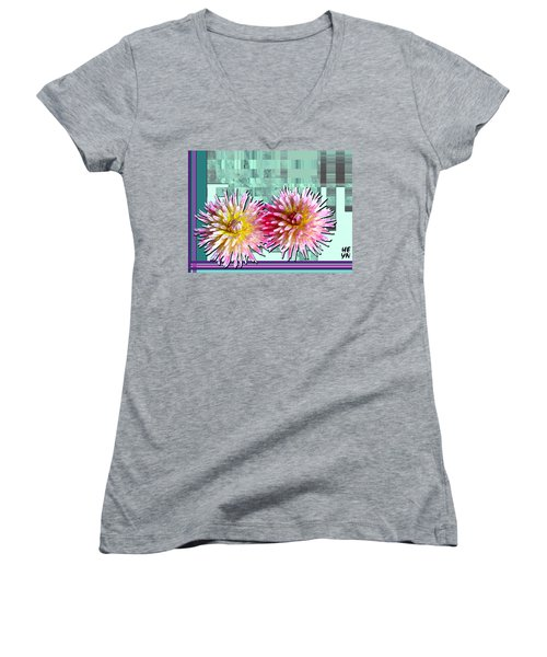 Two Dahlias Women's V-Neck T-Shirt (Junior Cut) by Shirley Heyn