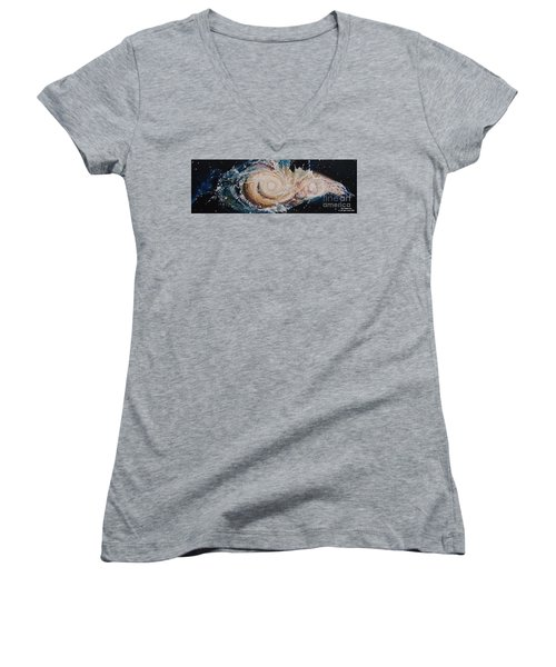 Two Galaxies Colliding Women's V-Neck T-Shirt