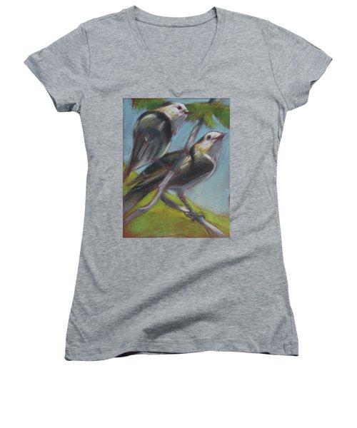 Two Gray Jays Women's V-Neck T-Shirt