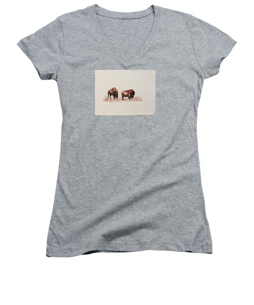 Women's V-Neck T-Shirt (Junior Cut) featuring the drawing Two Grumpy Bisons  by Ellen Canfield