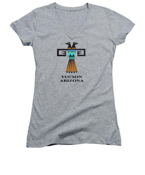 Two-headed Bird Tucson, Az Women's V-Neck T-Shirt (Junior Cut) by Vagabond Folk Art - Virginia Vivier