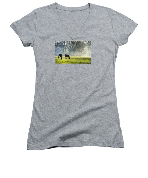 Two Horse Morning Women's V-Neck