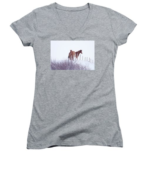 Two Horses In The Snow Women's V-Neck (Athletic Fit)