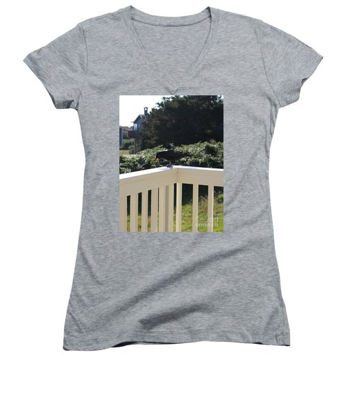 Women's V-Neck T-Shirt featuring the photograph Two In The Beak by Marie Neder