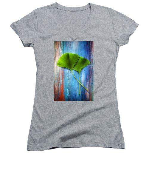 Two Leaves Of Ginkgo Biloba Women's V-Neck T-Shirt