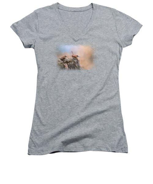 Two Little Wrens Women's V-Neck T-Shirt (Junior Cut) by Jai Johnson