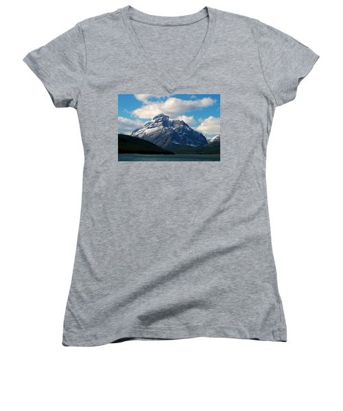 Two Medicine Lake And Rising Wolf Mountain Women's V-Neck T-Shirt