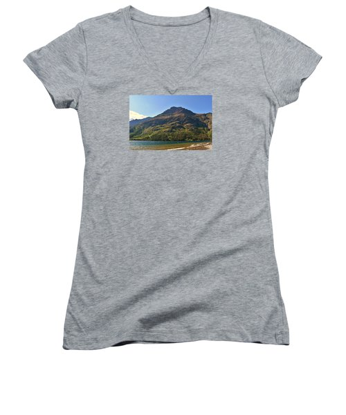 Two Medicine Lake Women's V-Neck T-Shirt (Junior Cut) by Dacia Doroff
