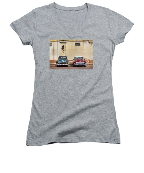 Women's V-Neck T-Shirt (Junior Cut) featuring the photograph Two Old Vintage Chevys Havana Cuba by Charles Harden
