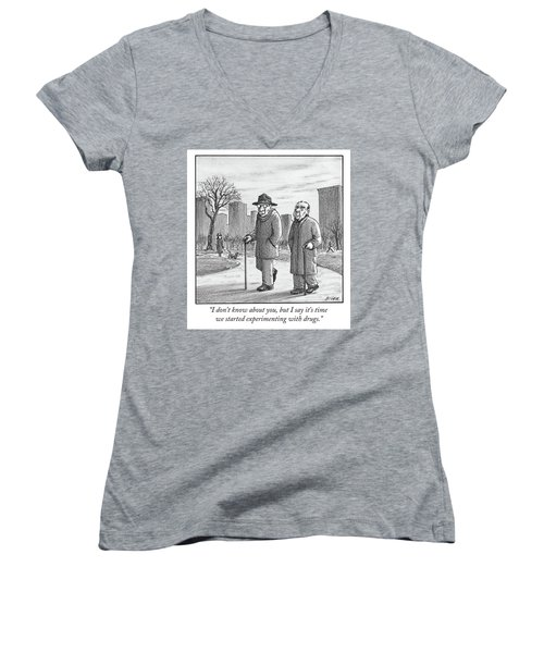 Two Older Men Walk With Canes Through A Park. Women's V-Neck