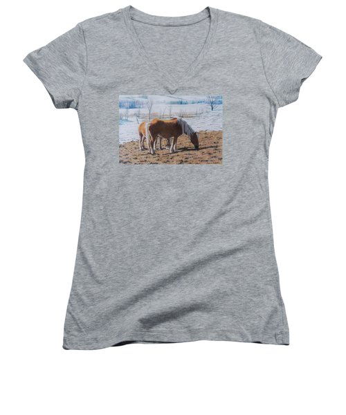 Two Ponies In The Snow Women's V-Neck (Athletic Fit)