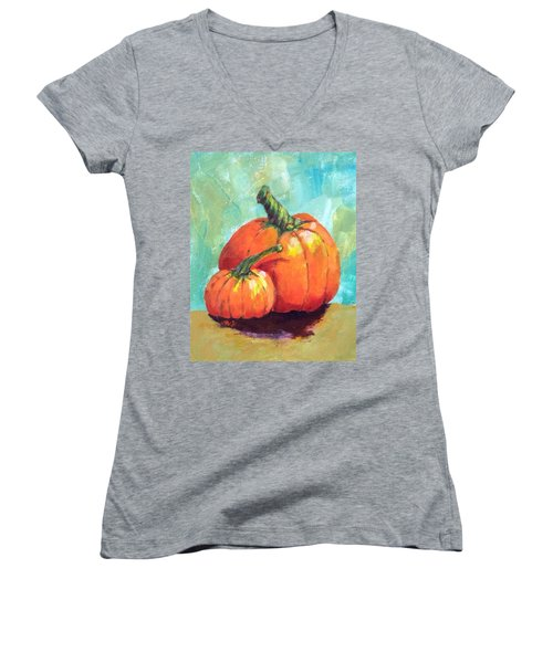 Two Pumpkins  Women's V-Neck