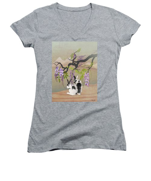 Two Rabbits Under Wisteria Tree Women's V-Neck (Athletic Fit)