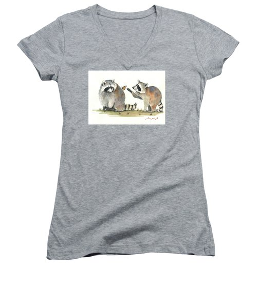 Two Raccoons Women's V-Neck T-Shirt (Junior Cut)
