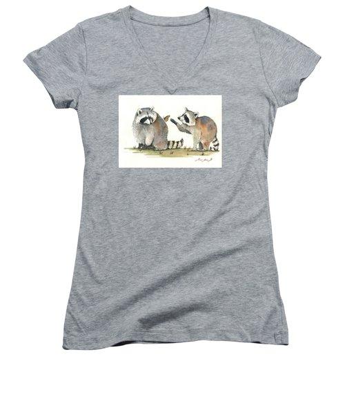 Two Raccoons Women's V-Neck T-Shirt