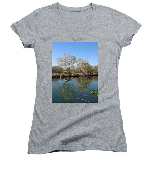 Two Reflected Women's V-Neck T-Shirt (Junior Cut) by Laurel Powell