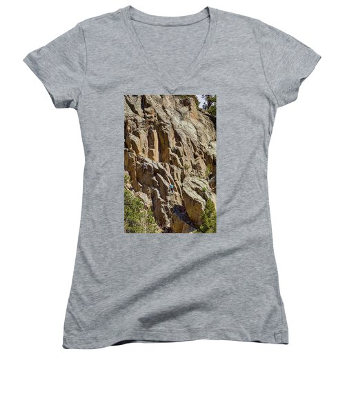 Women's V-Neck T-Shirt (Junior Cut) featuring the photograph Two Rock Climbers Making Their Way by James BO Insogna