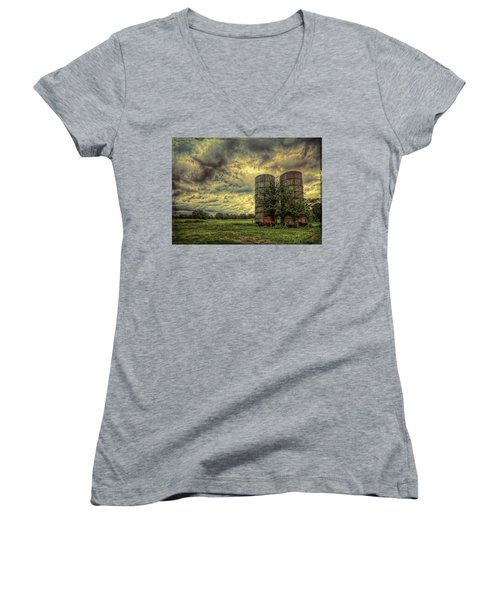 Women's V-Neck T-Shirt featuring the photograph Two Silos by Lewis Mann