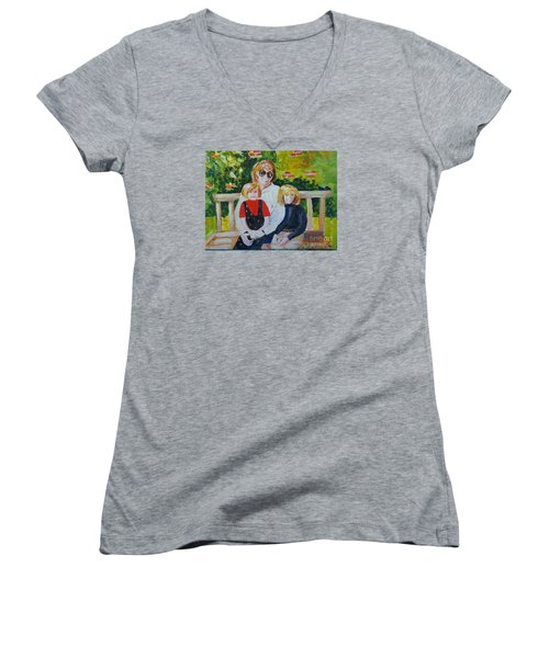 Two Sisters With Sweet Mom Women's V-Neck (Athletic Fit)