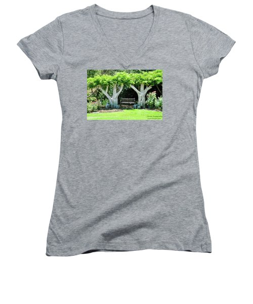 Two Tall Trees, Paradise, Romantic Spot Women's V-Neck T-Shirt (Junior Cut) by Gandz Photography