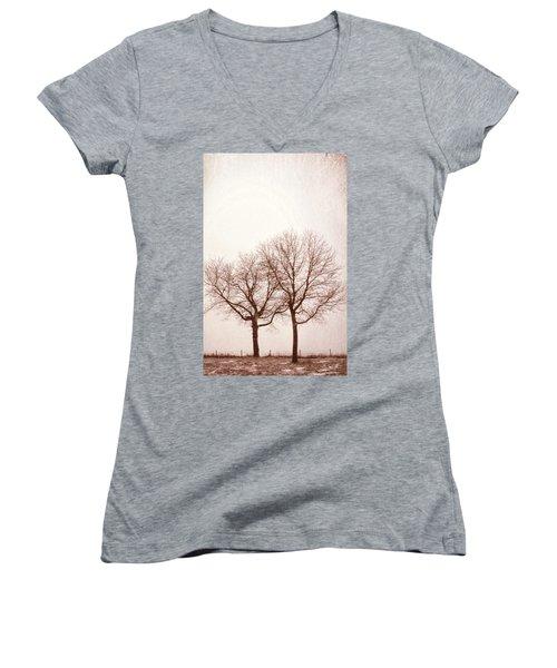 Women's V-Neck T-Shirt (Junior Cut) featuring the photograph Two Trees#1 by Susan Crossman Buscho