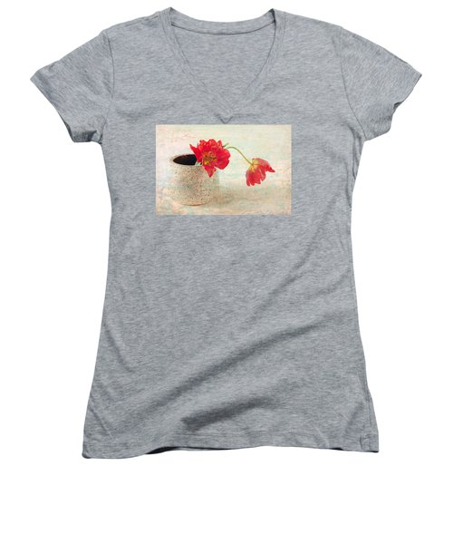 Women's V-Neck T-Shirt (Junior Cut) featuring the photograph Two  Tulips   by Catherine Lau