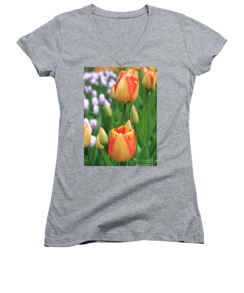 Two Tulips Women's V-Neck (Athletic Fit)