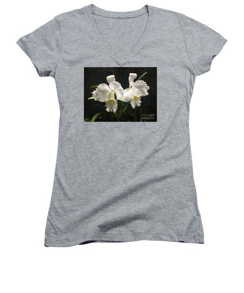 Two White Orchids Women's V-Neck (Athletic Fit)