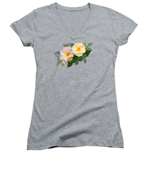Two Wild Roses Women's V-Neck T-Shirt (Junior Cut) by Ivana Westin