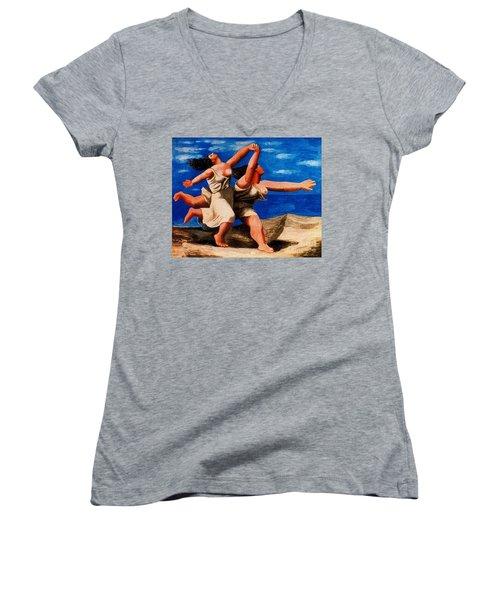 Two Women Running On The Beach Women's V-Neck T-Shirt