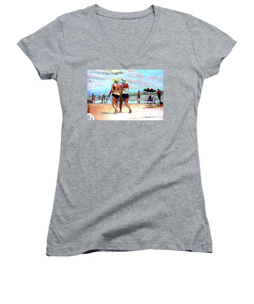Two Women Walking On The Beach Women's V-Neck T-Shirt (Junior Cut) by Stan Esson