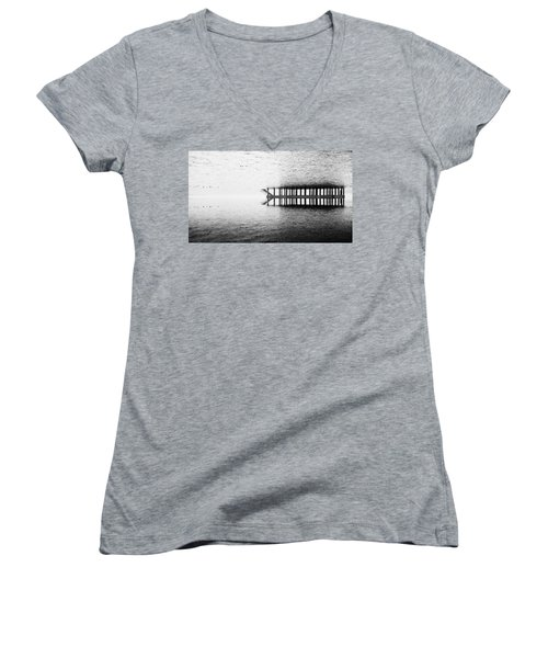 Women's V-Neck T-Shirt (Junior Cut) featuring the photograph Two Worlds by Chevy Fleet