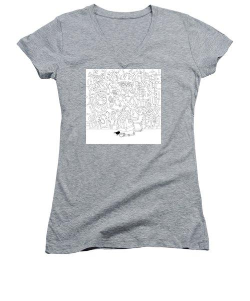 Two Worlds Women's V-Neck T-Shirt (Junior Cut) by Smokini Graphics