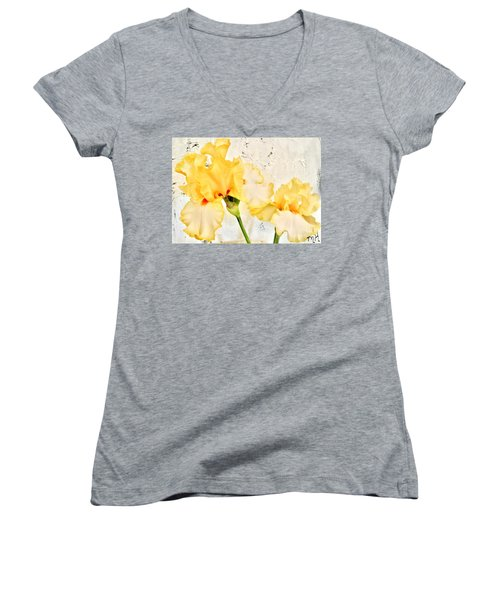Two Yellow Irises Women's V-Neck T-Shirt (Junior Cut) by Marsha Heiken