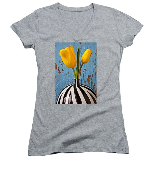 Two Yellow Tulips Women's V-Neck T-Shirt (Junior Cut) by Garry Gay