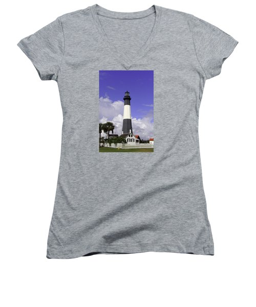 Tybee Island Lighthouse Women's V-Neck T-Shirt (Junior Cut) by Elizabeth Eldridge