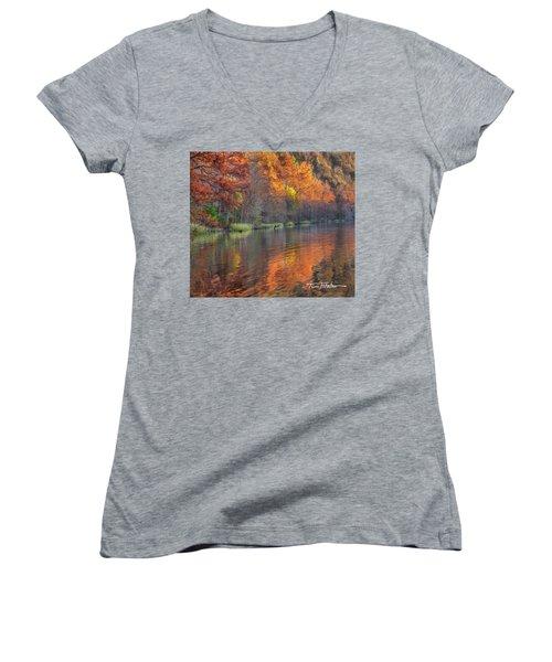 Tyler Lake Women's V-Neck T-Shirt (Junior Cut) by Tim Fitzharris