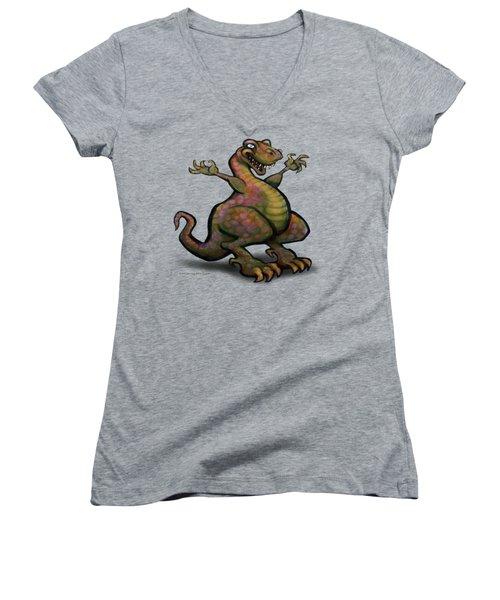 Women's V-Neck T-Shirt (Junior Cut) featuring the digital art Tyrannosaurus Rex by Kevin Middleton