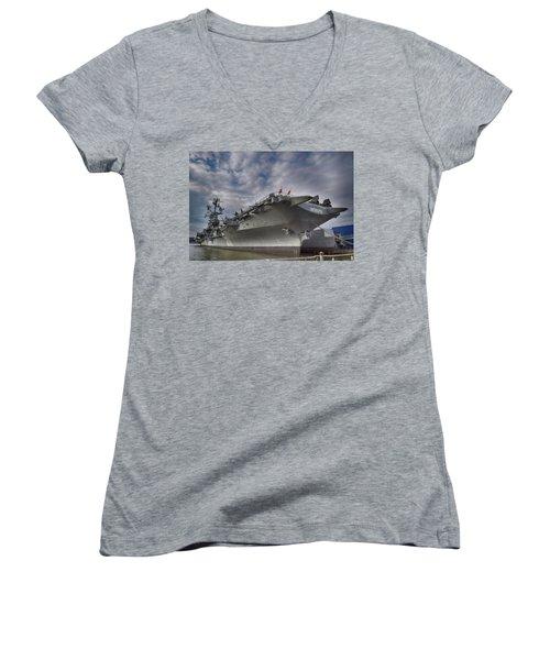 U S S  Intrepid     Women's V-Neck T-Shirt (Junior Cut)