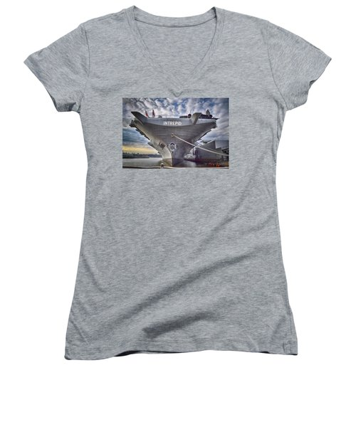 U S S   Intrepid's Bow  Women's V-Neck T-Shirt (Junior Cut)