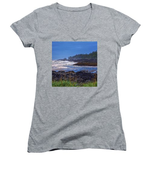 Ucluelet, British Columbia Women's V-Neck T-Shirt (Junior Cut) by Heather Vopni