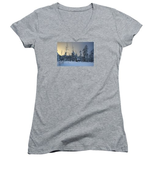 Ufo II Women's V-Neck T-Shirt (Junior Cut) by Dan Hefle