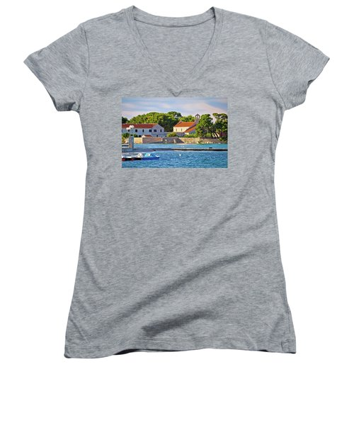 Ugljan Island Village Old Church And Beach View Women's V-Neck T-Shirt (Junior Cut) by Brch Photography