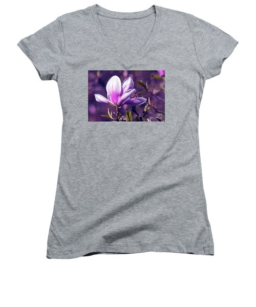 Ultra Violet Magnolia  Women's V-Neck