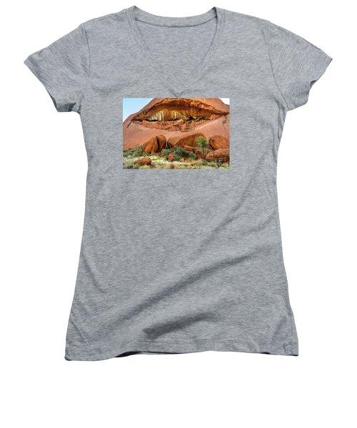 Women's V-Neck T-Shirt featuring the photograph Uluru 06 by Werner Padarin