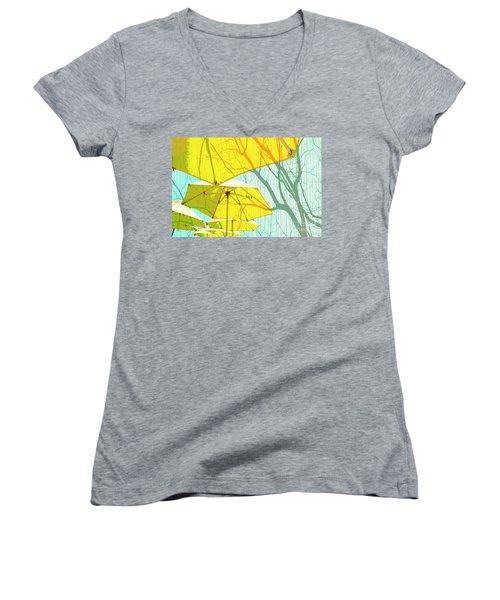 Umbrellas Yellow Women's V-Neck T-Shirt (Junior Cut) by Deborah Nakano