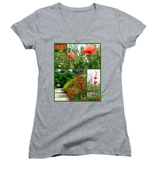 Umbrian Red Poppy Collage Women's V-Neck (Athletic Fit)