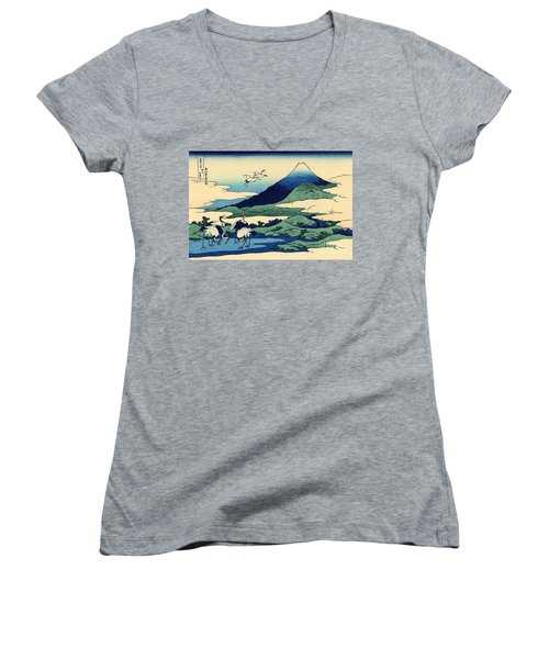 Umegawa In Sagami Province, One Of Thirty Six Views Of Mount Fuji Women's V-Neck T-Shirt (Junior Cut) by Hokusai