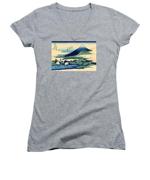 Umegawa In Sagami Province, One Of Thirty Six Views Of Mount Fuji Women's V-Neck T-Shirt (Junior Cut) by Hokusai